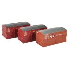 Branch-Line 36-004A - BD Large Containers Bauxite & Crimson (x3)