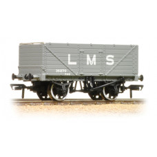 37-088 - 7 Plank End Door Wagon LMS Grey - Regular -27.79