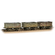 Branch-Line 37-237 - Triple Pack 16 Ton Steel Mineral Wagons BR Grey with Load Weathered