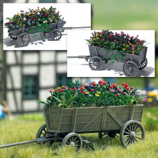 1228 - Wooden Cart w/Flowers