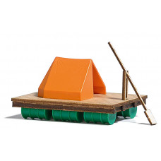 1564 - Wooden Raft w/Paddle/Tent