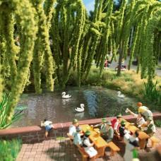 5482 - Pond w/3 Swimming Swans