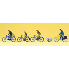Preiser 10507 - Cyclists w/Bicycle Trailr