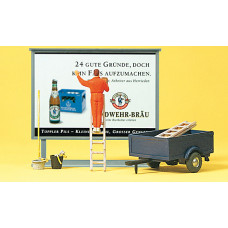 Preiser 10526 - Worker/Ladder/Billboard