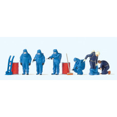 Preiser 10729 - Firemen/Blue Chem Suits