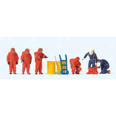 Preiser 10730 - Firemen/Red Chem Suits