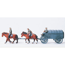 Preiser 16512 - WWII Supply wagon w/crew
