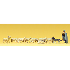 Preiser 65325 - Shepherd/sheep/dog