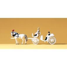 Preiser 79479 - Horse & carriage-white