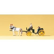 Preiser 79481 - Horse & carriage-black