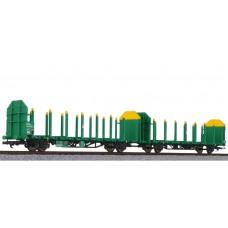 Liliput L235244 Timber Carrier Wagon, VTG, grün-gelb