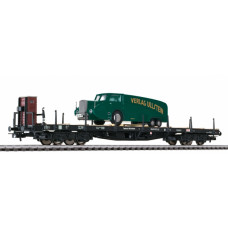 Liliput L235754 Flat Wagon with Brakeman's Cab &  Green Truck Load DR Ep.II (D)