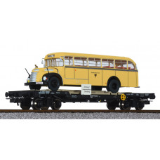 Liliput L235781 Flat Wagon OBB with Post Bus 'Graef+Stift' ÖBB Ep.V