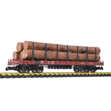 Liliput L95752 (D) Flat Wagon with Stanchions and Lumber Load Brown Ep.III-V
